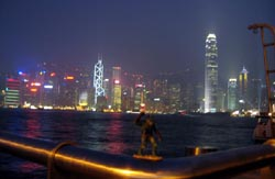 The Gorn with the Hong Kong skyline