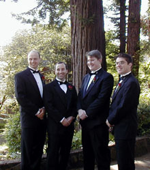 Peter, Alex, Mark, and Josh at Alex's wedding