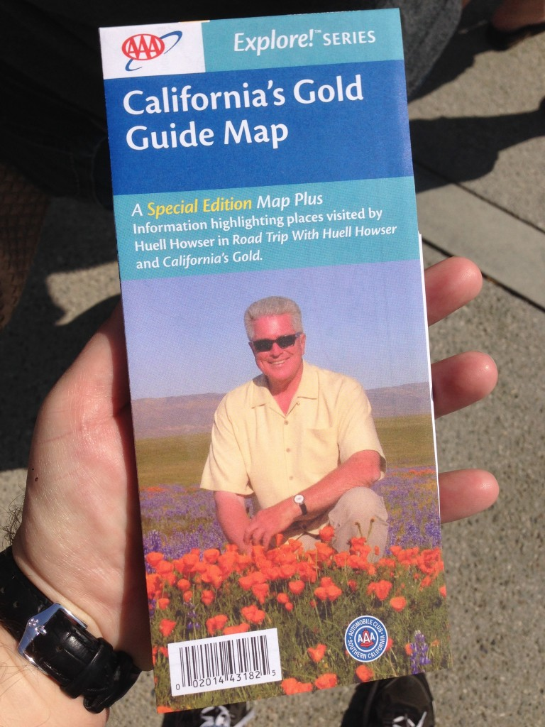 The AAA California's Gold Guide Map featuring 100 locations Huell visited