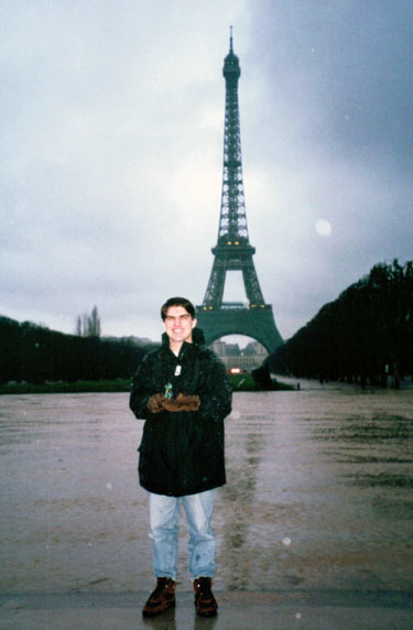 Josh and the Gorn at the Eiffel Tower in 1996