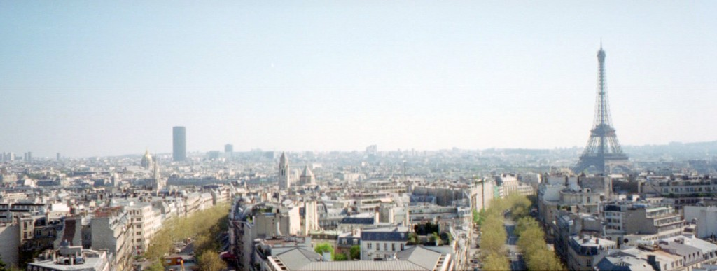 Panorama of Paris including the Eiffel Tower from the top of the Arc de Triomphe