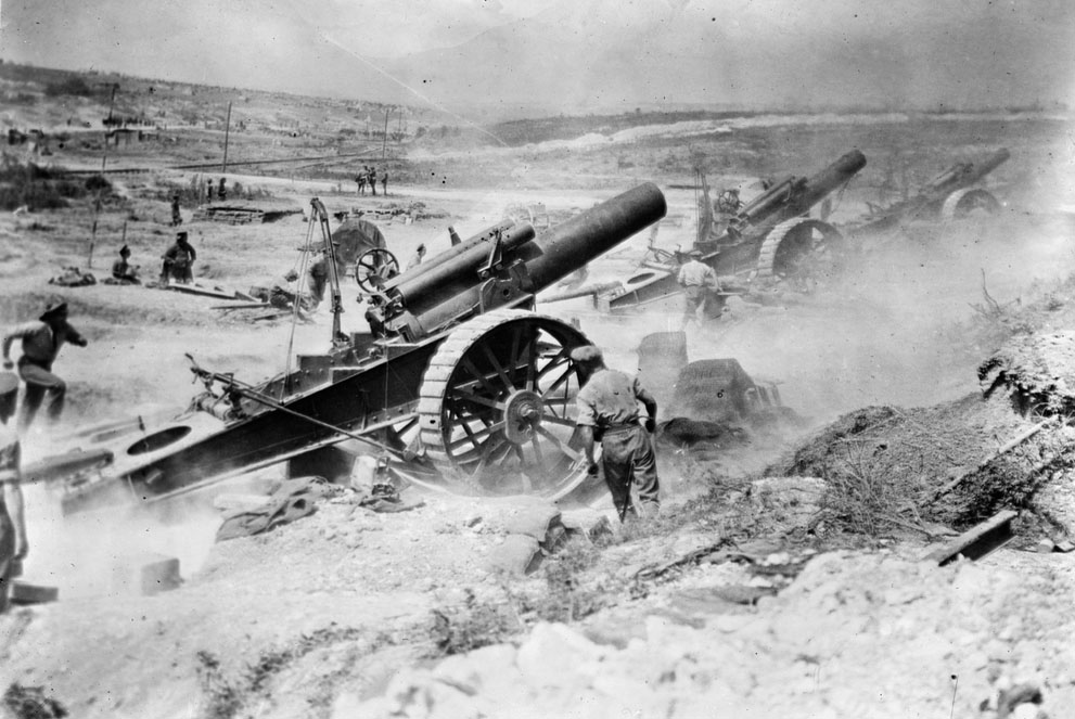 British artillery bombards German positions on the Western Front. (Library of Congress)