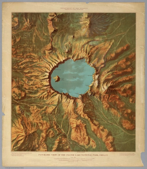 1914 Relief map of Crater Lake National Park