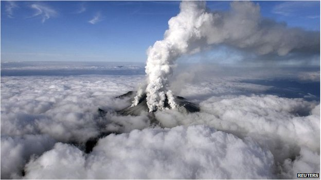 Mount Ontake erupts on 9/27/14 via Reuters