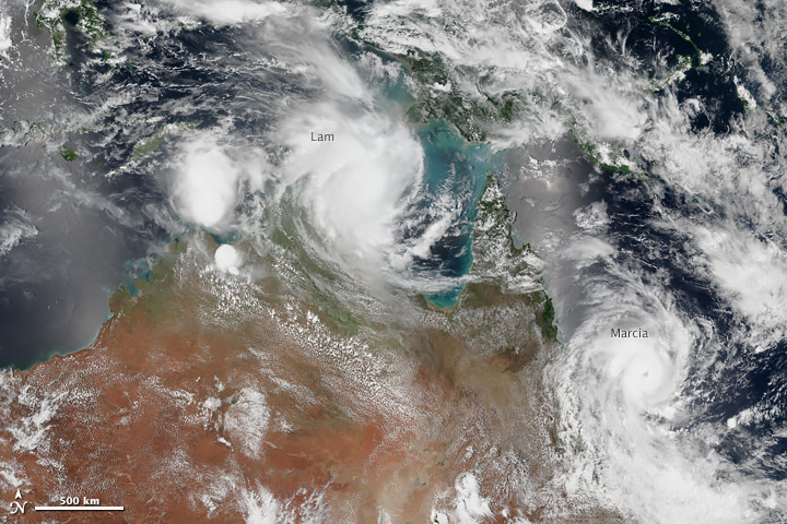 Cyclones Lam and Marcia slam into Australia 6 hours apart on Feb 19.